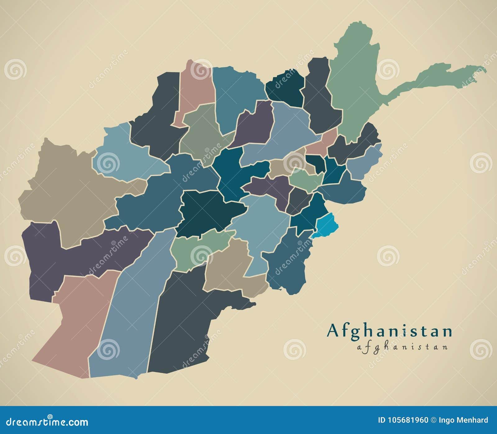 Karte Afghanistan Provinzen.Moderne Karte Afghanistan Mit Provinzen Politischer Af