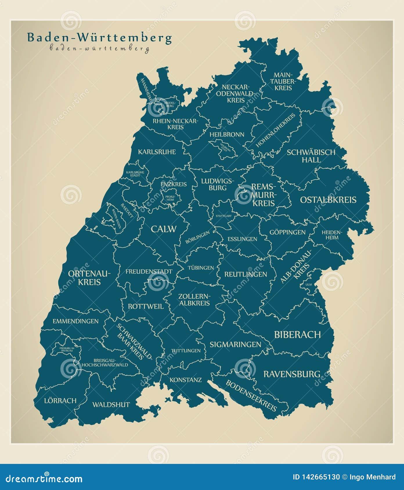 Moderne Karte - Baden Wuerttemberg-Karte von Deutschland mit Grafschaften und Aufklebern