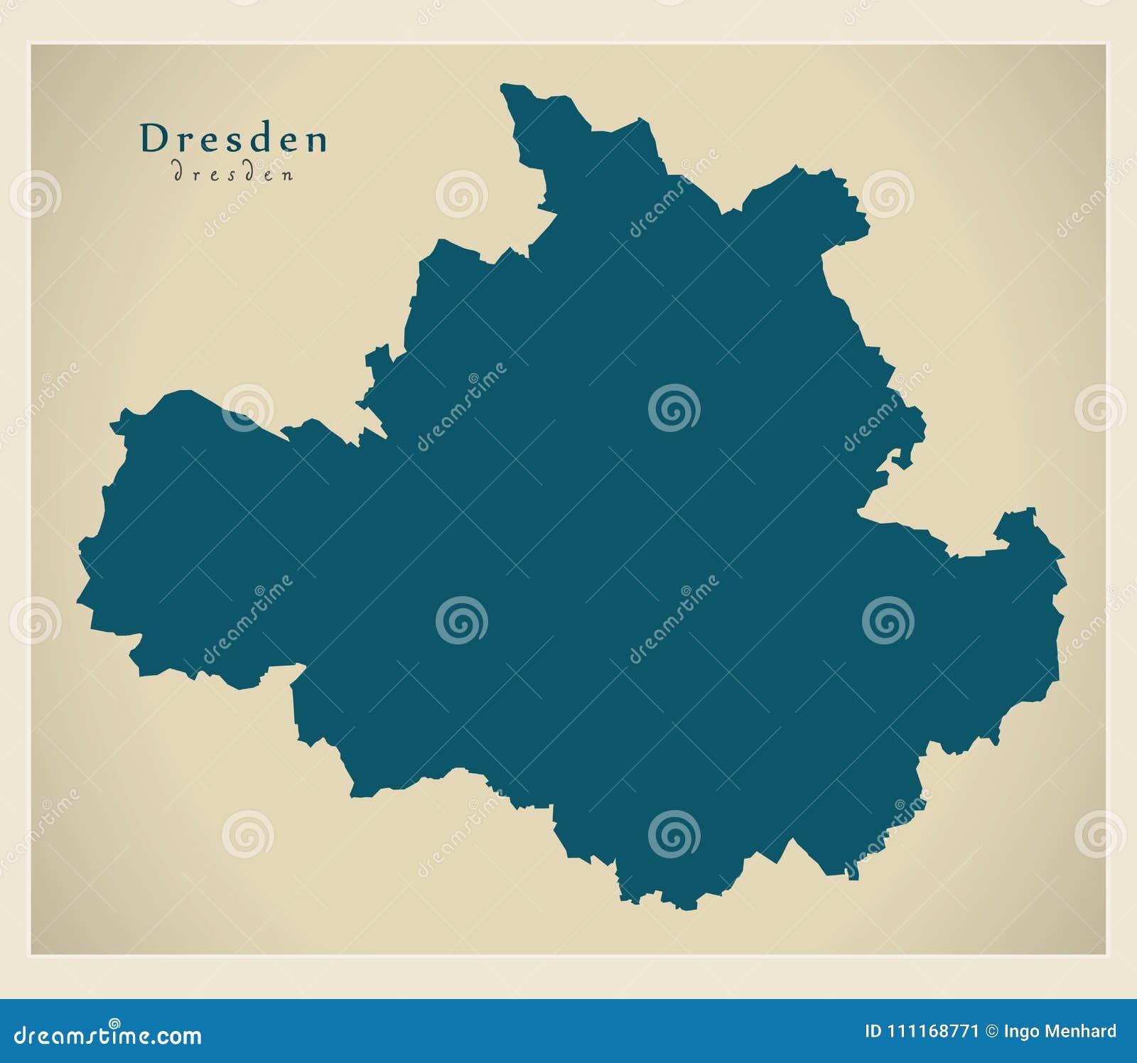 Moderne Karte Dresden Stadt Von Deutschland De Vektor Abbildung