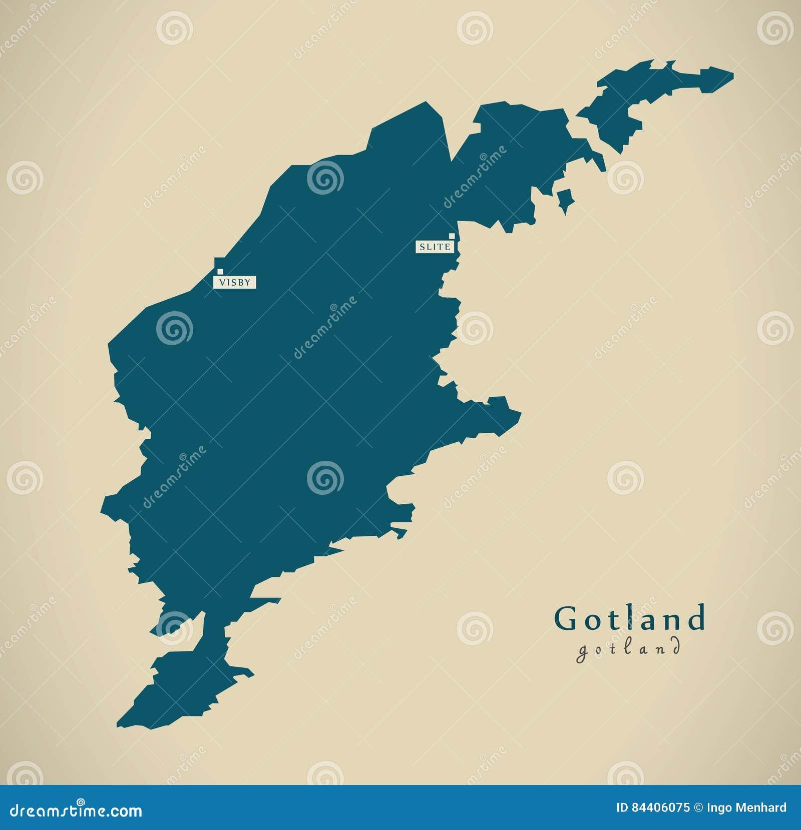 Schweden Karte Regionen.Moderne Karte Gotland Schweden Se Stock Abbildung