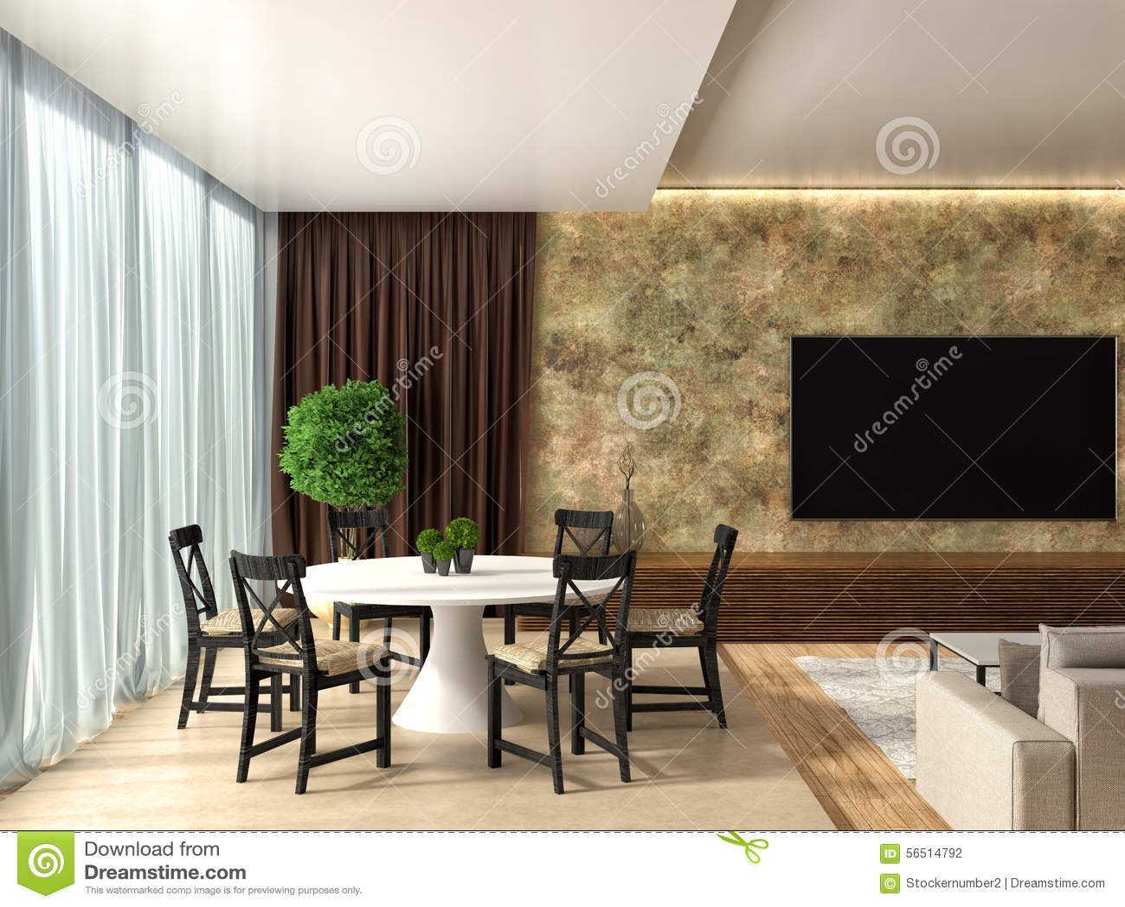 Moderne Küche Und Wohnzimmer Abbildung 3D Stock Abbildung - Bild ...