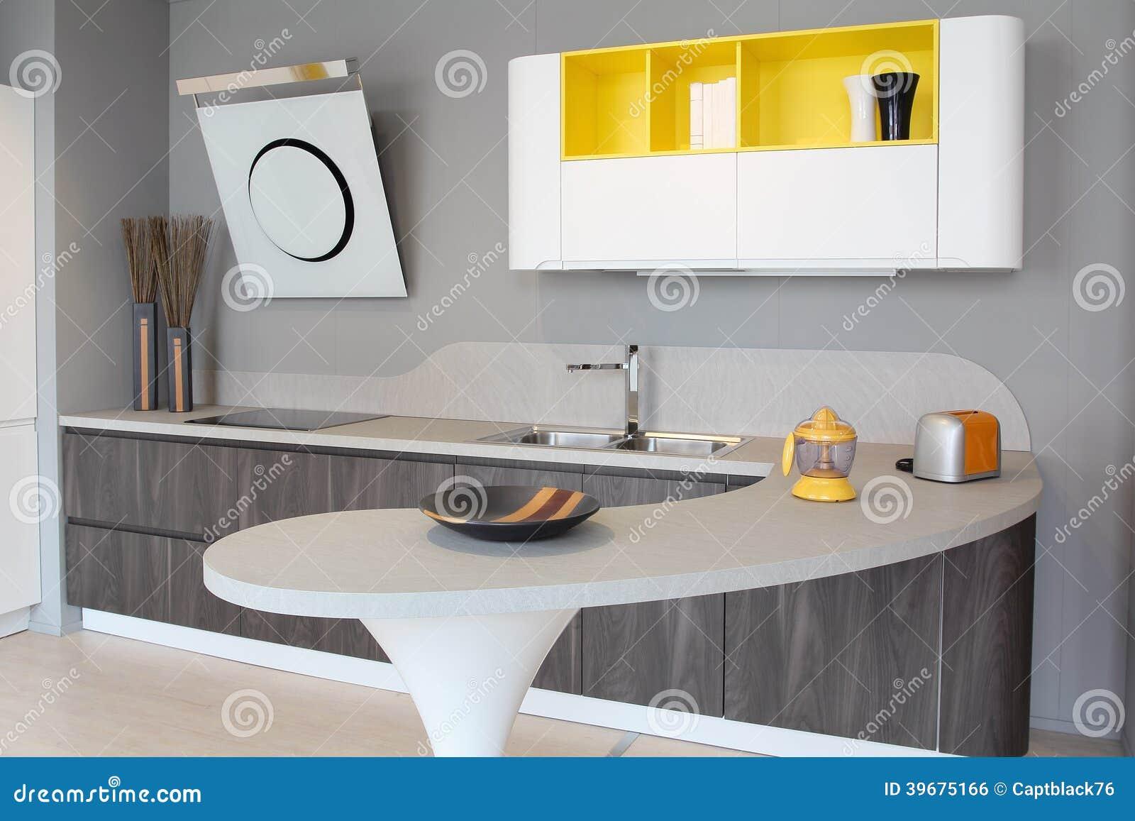 Moderne küche weiß und gelb stockfoto   bild: 39675166