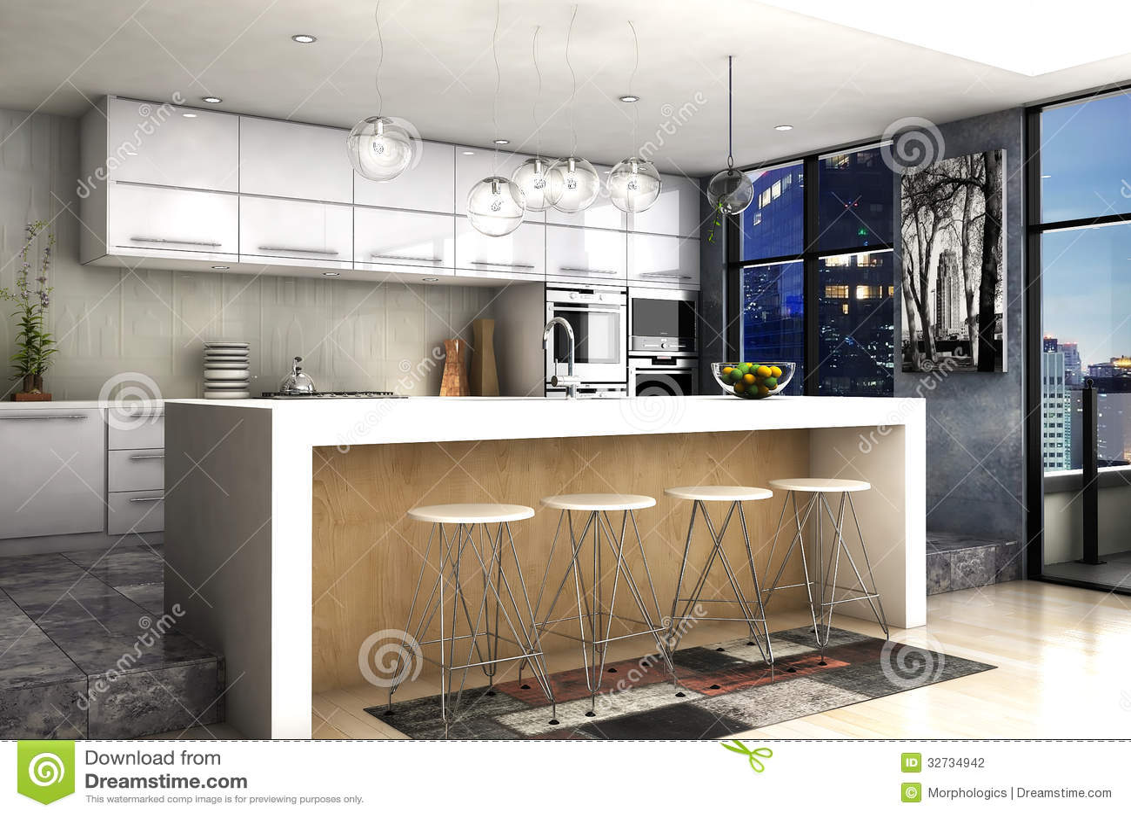 Moderne keuken stock fotografie afbeelding 32734942 - Afbeelding moderne keuken ...