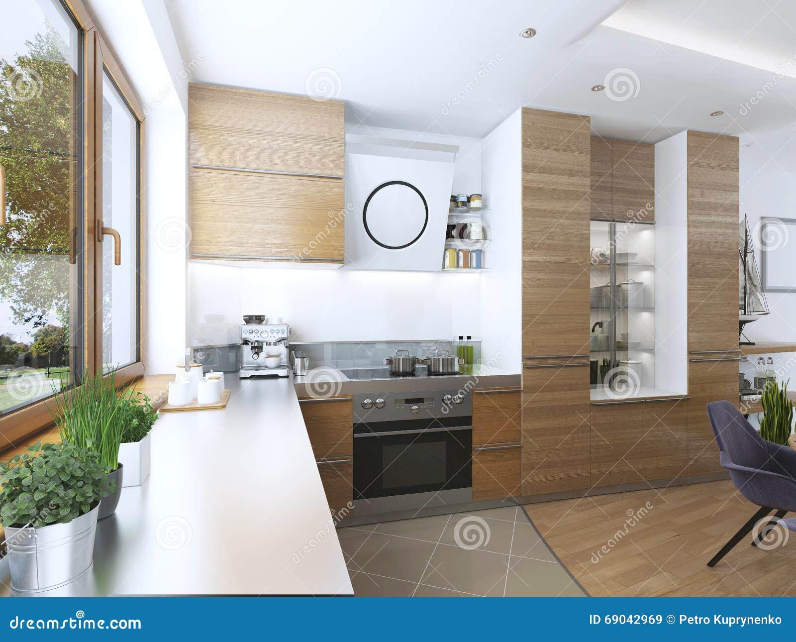 Moderne keuken in de eetkamer eigentijdse stijl stock afbeelding