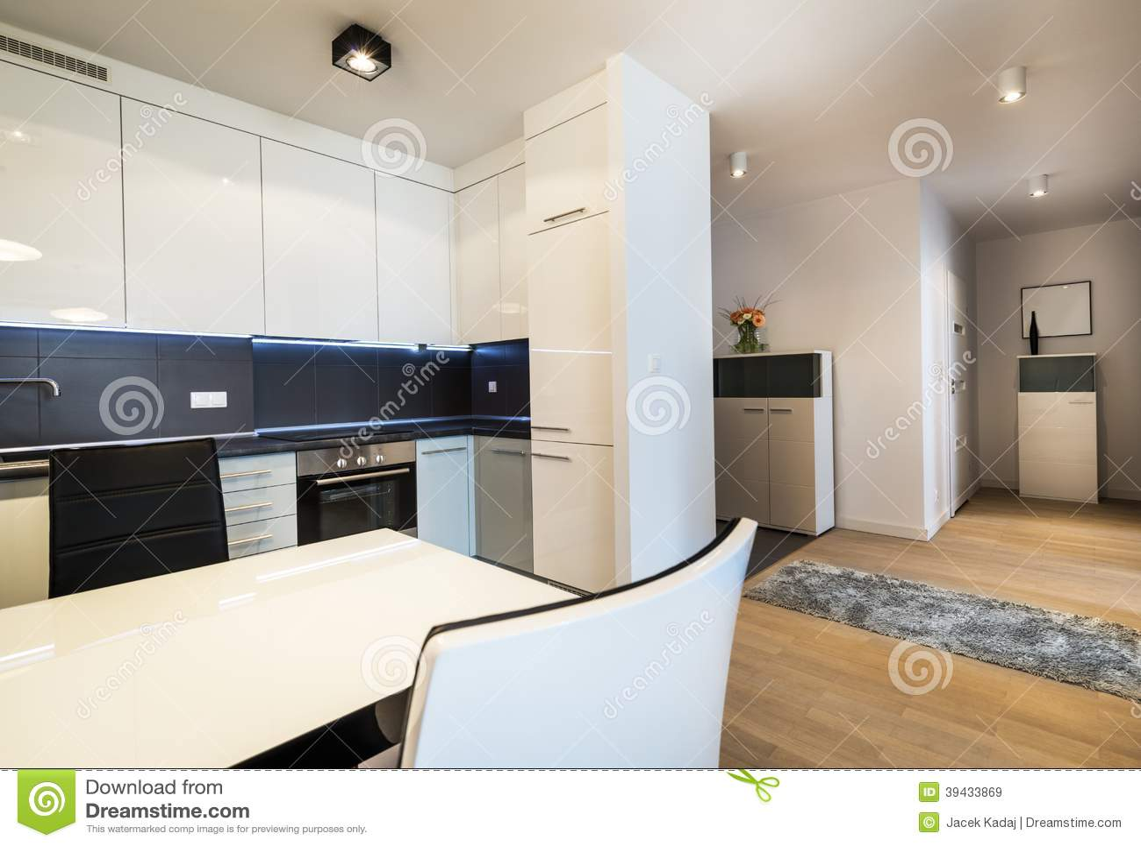 Moderne keuken en ingang stock afbeelding. afbeelding bestaande uit