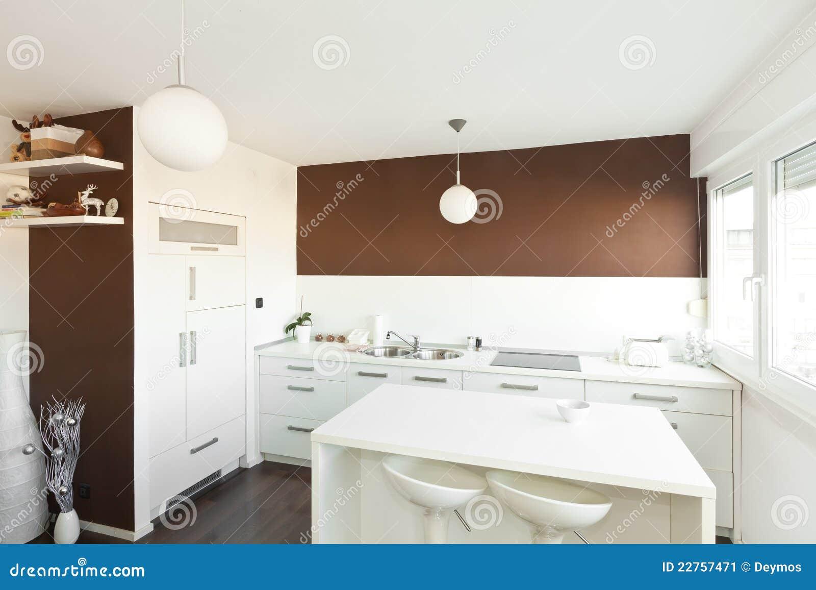 Moderne Keuken Met Bruine Muur Stock Fotografie - Afbeelding: 22757872