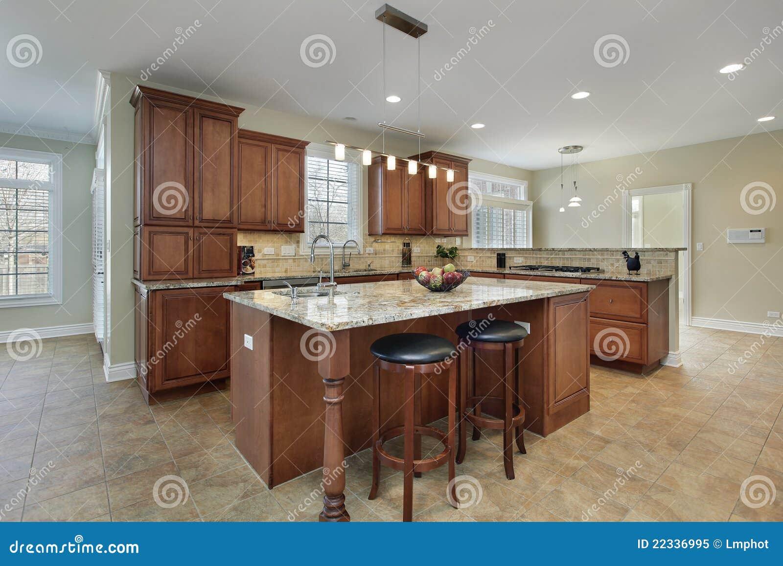 Moderne keuken met eiland royalty vrije stock foto afbeelding 22336995 - Keuken foto met eiland ...