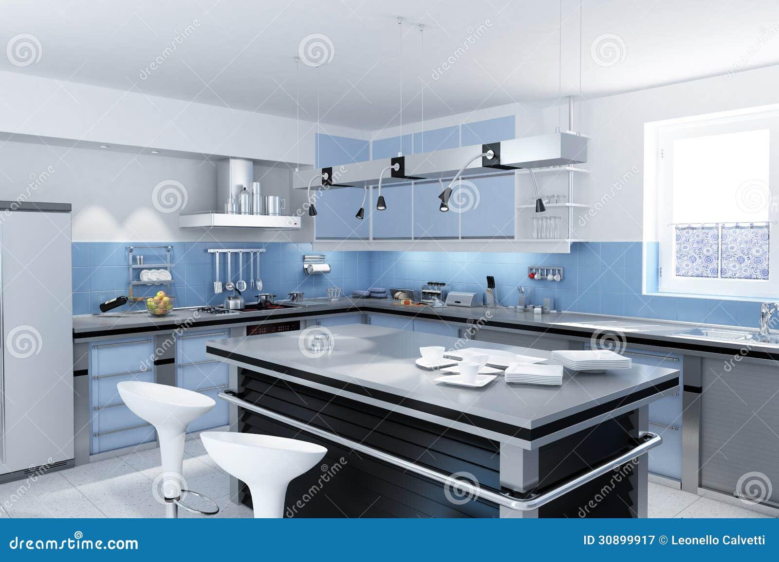 Moderne keuken met eiland met krukken en schotels en mokken.