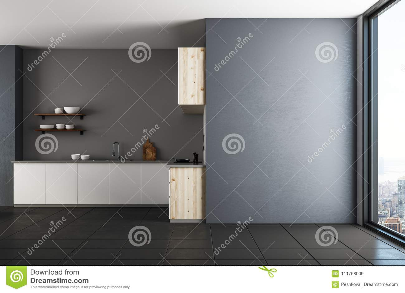 Moderne keuken met exemplaarruimte