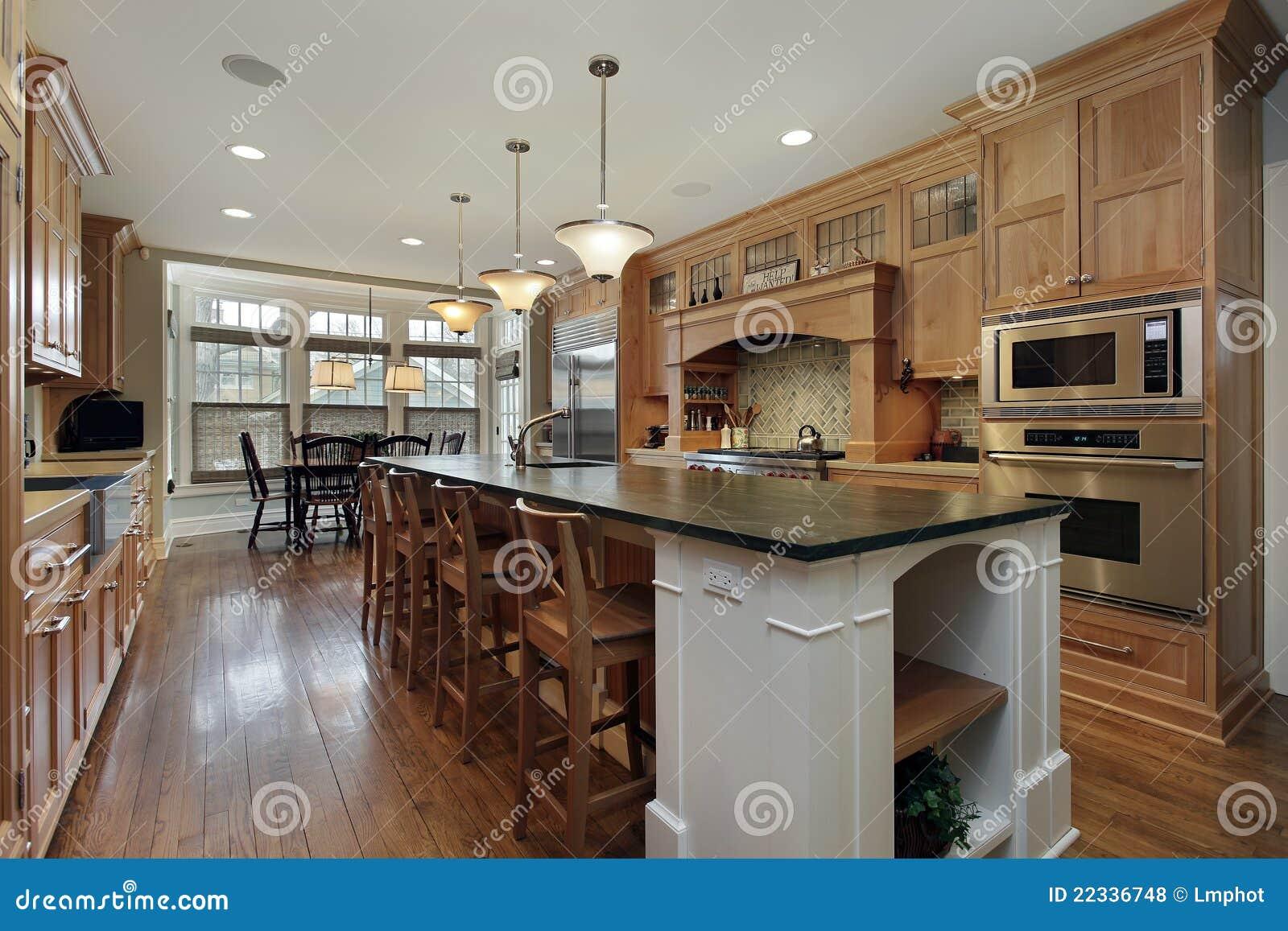 Moderne Keuken Met Groot Eiland Royalty-vrije Stock Fotos ...