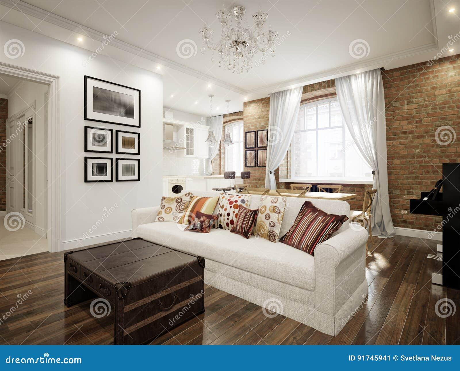 Moderne Traditionele Woonkamer : Moderne klassieke traditionele witte woonkamer stock illustratie