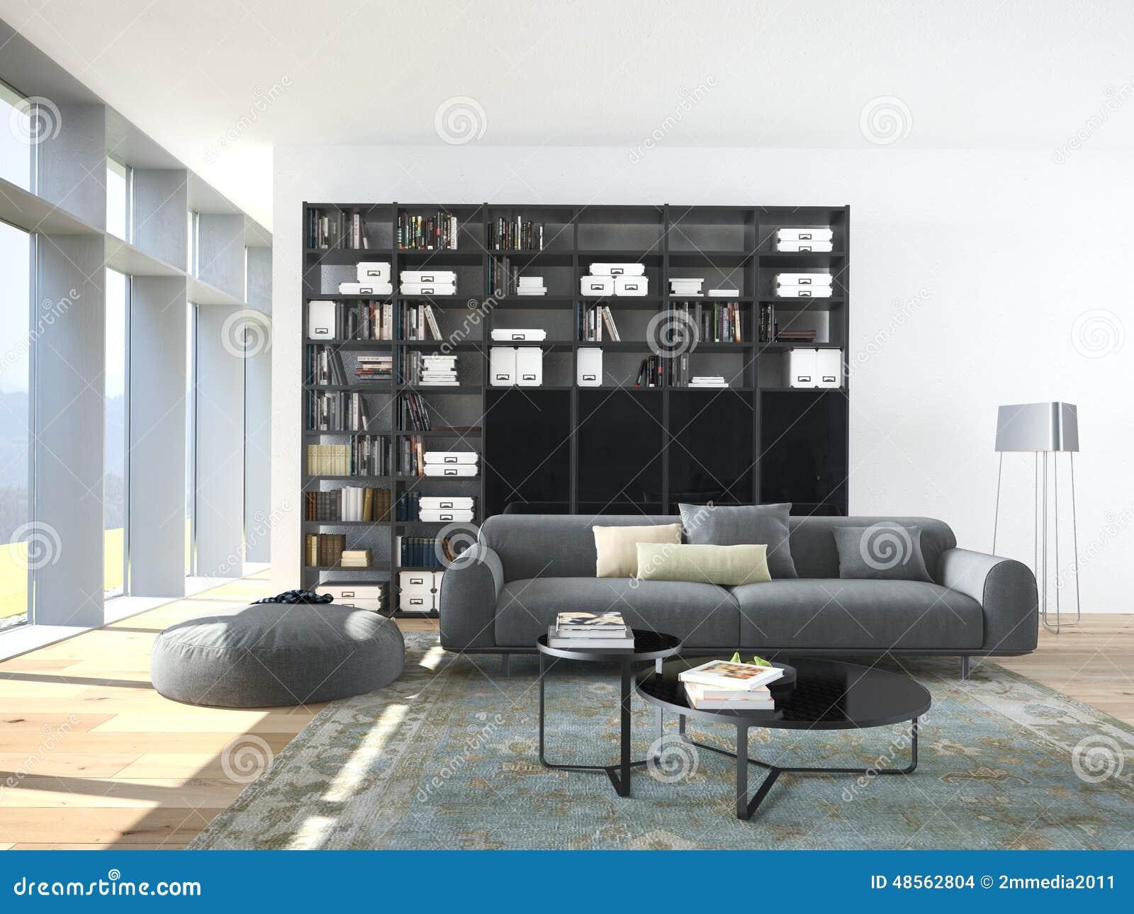 Boekenkast In Woonkamer : Woonkamer met houten trap en boekenkast stock illustratie nieuw