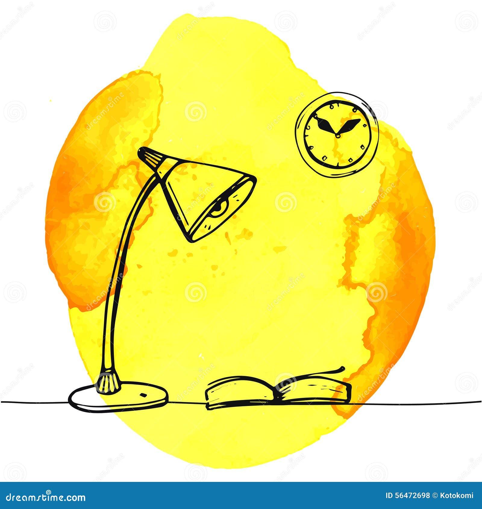 Tisch gezeichnet  Moderne Lampe Und Buch Auf Dem Tisch Hand Gezeichnet Vektor ...