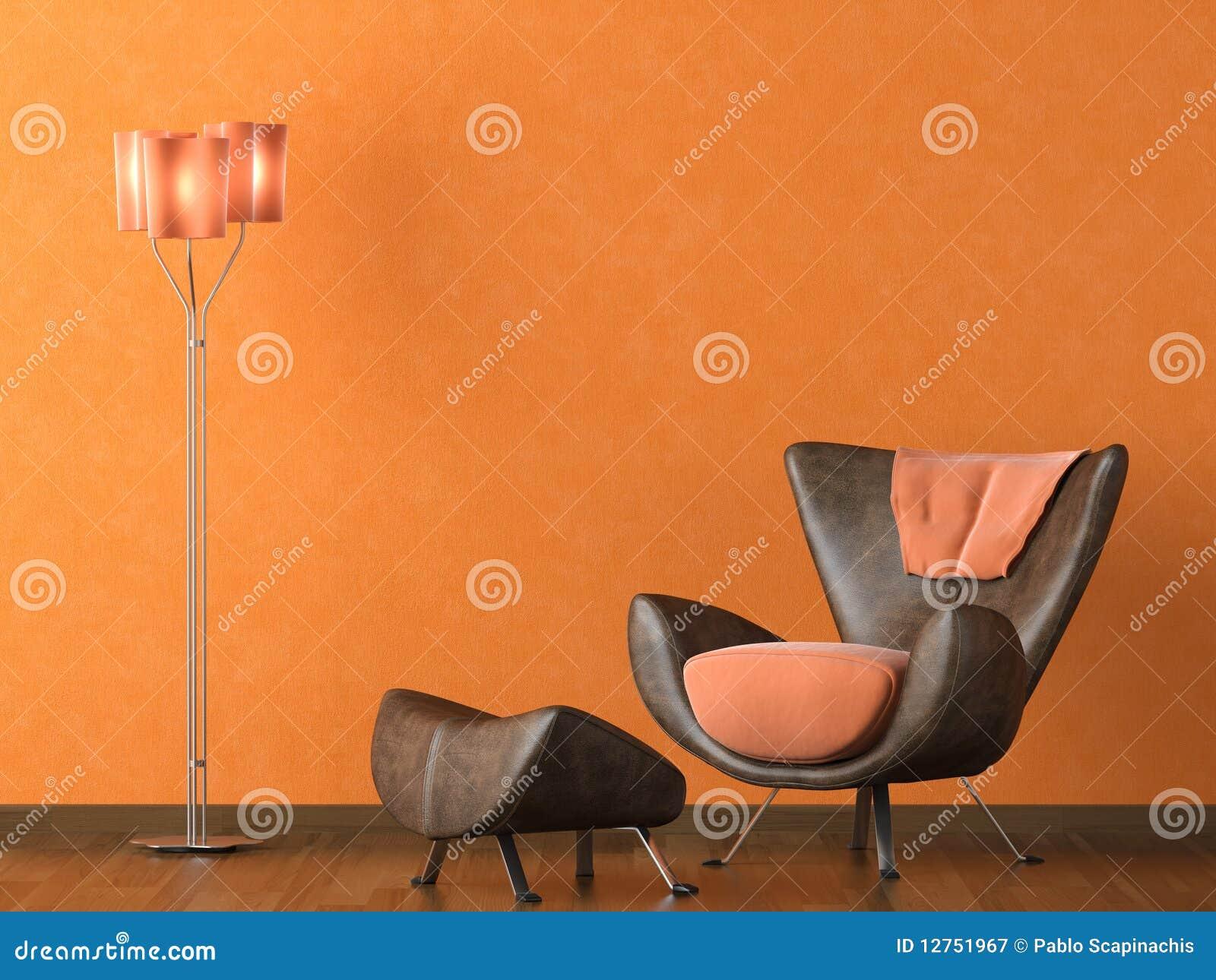 Moderne leerlaag op oranje muur royalty vrije stock fotografie ...