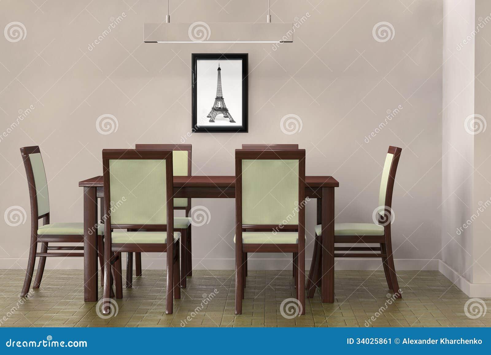 Moderne lijst en stoelen om een blinde muur onder ogen te zien stock afbeelding afbeelding - Moderne stoelen ...