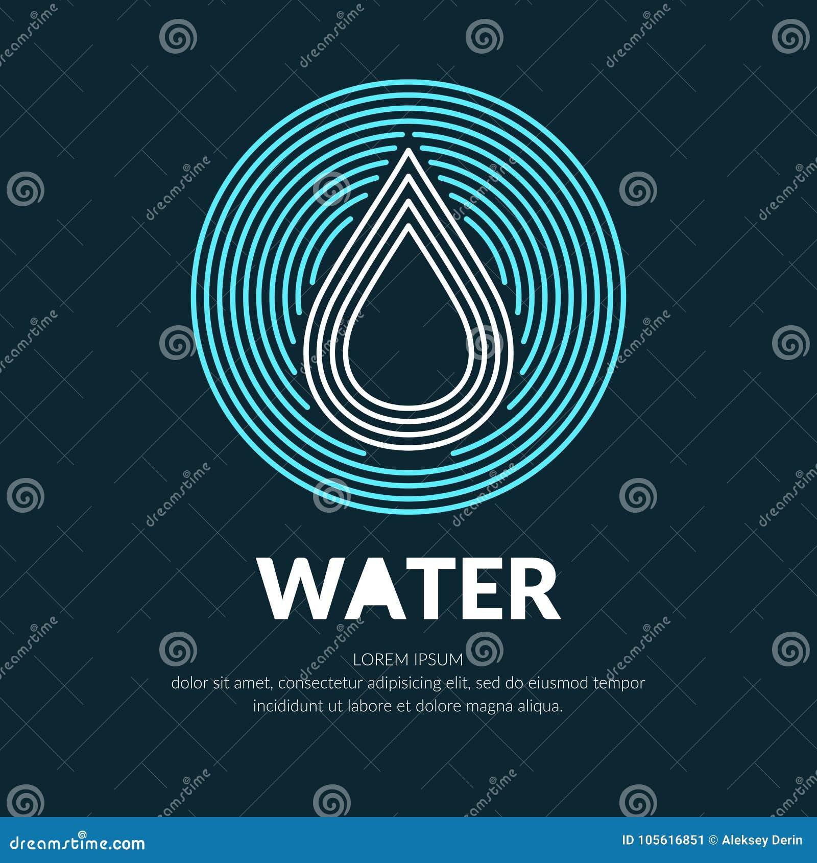 Moderne Linie Vektorlogo des Wassertropfens