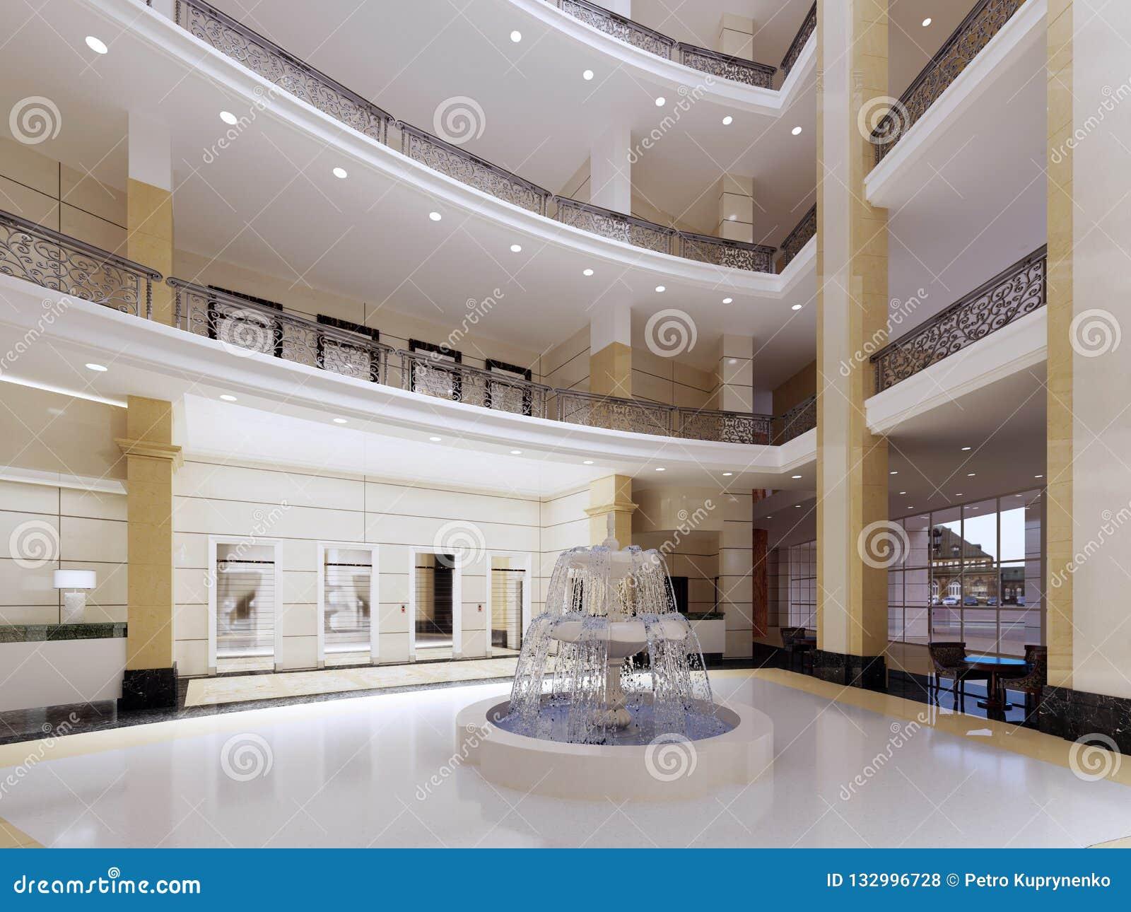 Moderne Lobby, Halle des Luxushotels, Einkaufszentrum, Geschäftszentrum Wiedergabe 3D Büroräume