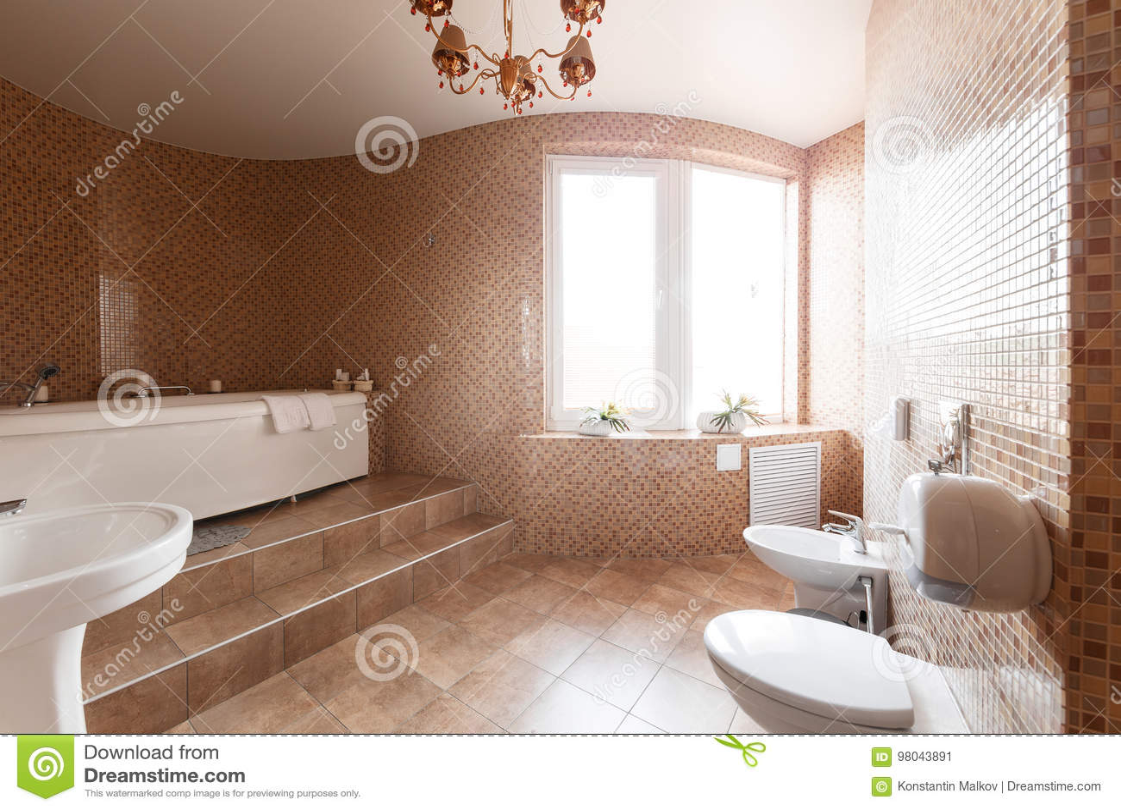 Moderne luxebadkamers met badkuip en venster binnenlands ontwerp