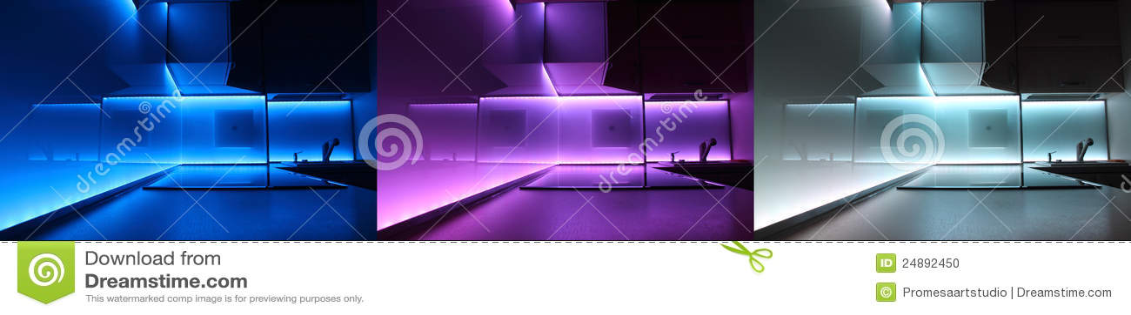 Moderne luxekeuken met geleide verlichting