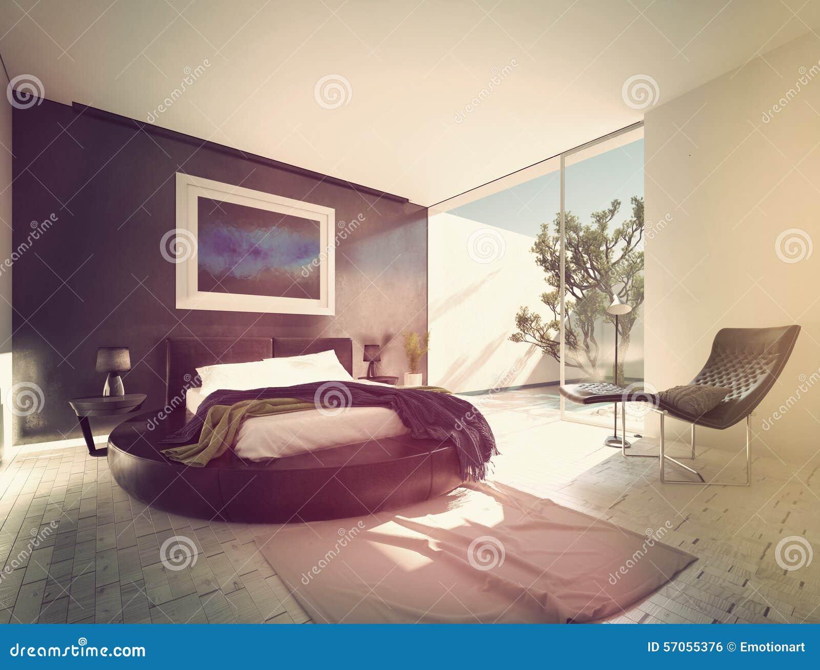 Moderne luxeslaapkamer met zwart leer