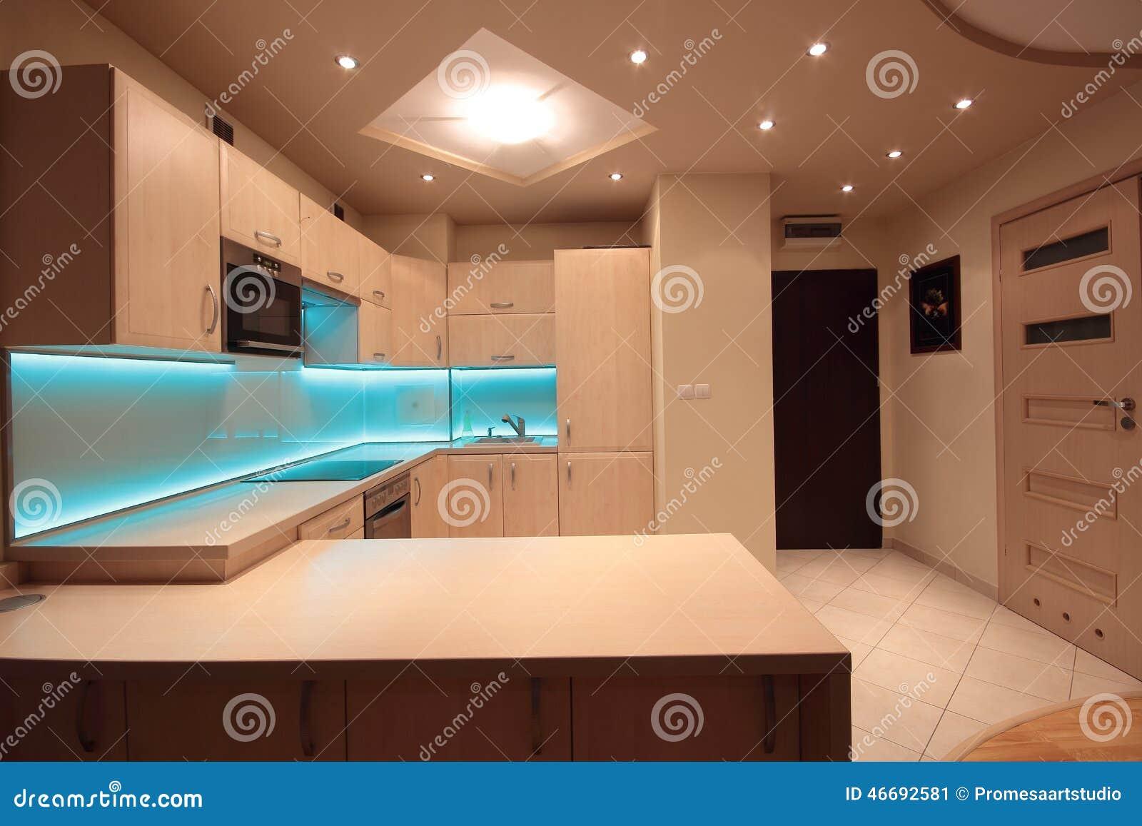 Inspirierend Moderne Beleuchtung Das Beste Von Pattern Küche Mit Blauer Led-beleuchtung Stockbild -