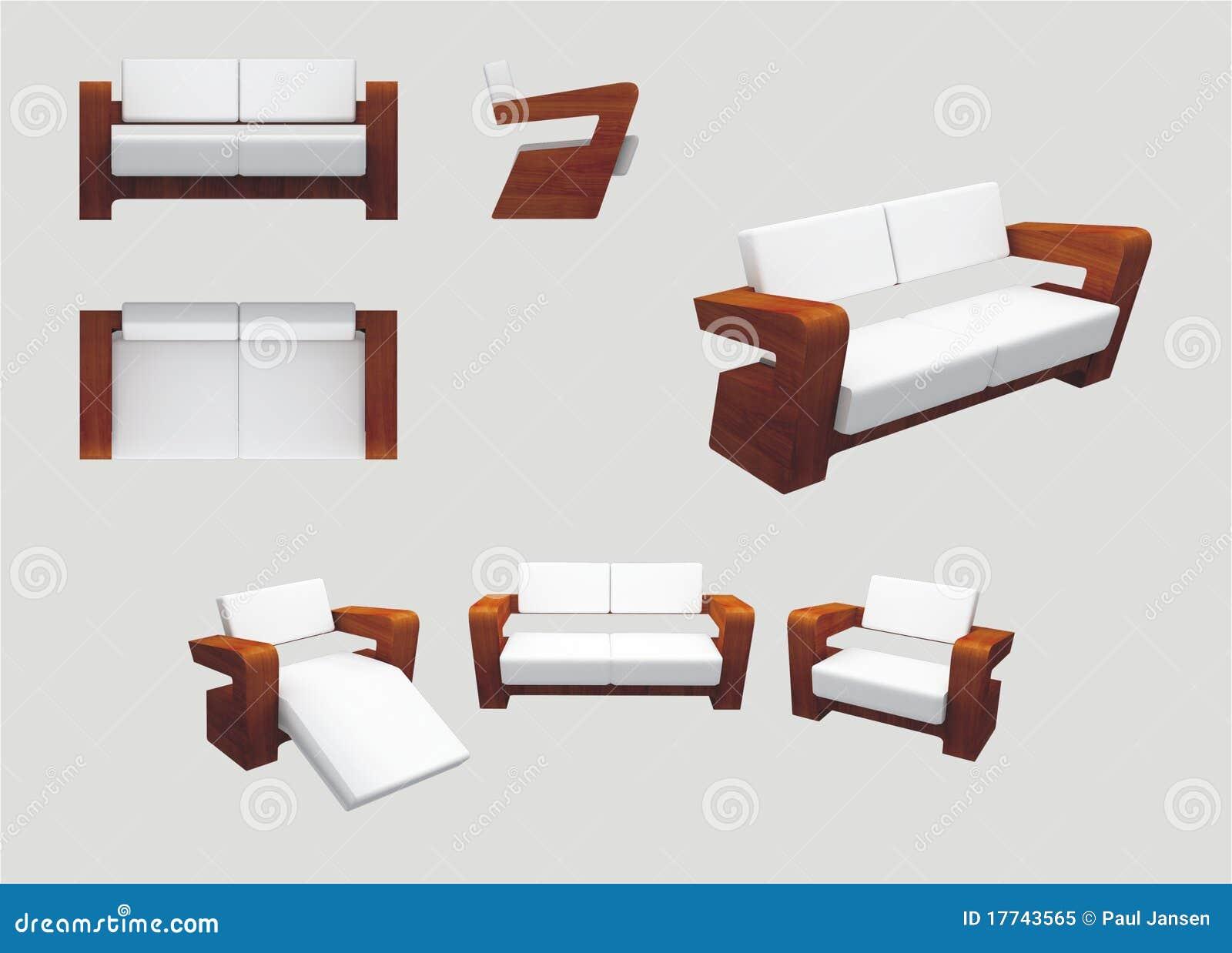 Moderne Möbel Für Entspannung Stock Abbildung - Illustration von ...