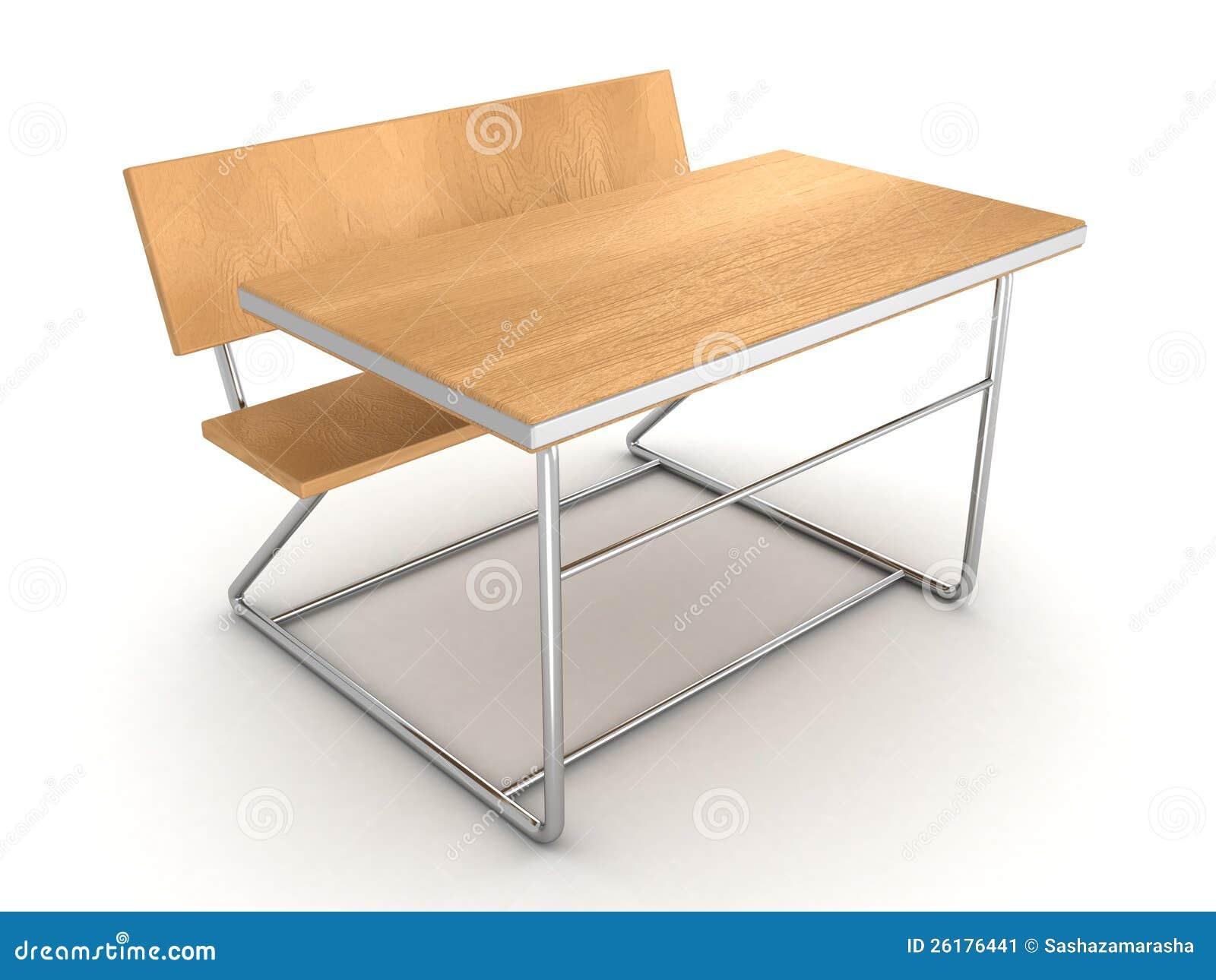 Moderne metaal houten schoolbank op wit stock afbeelding afbeelding 26176441 - Zetel leer metaal ...