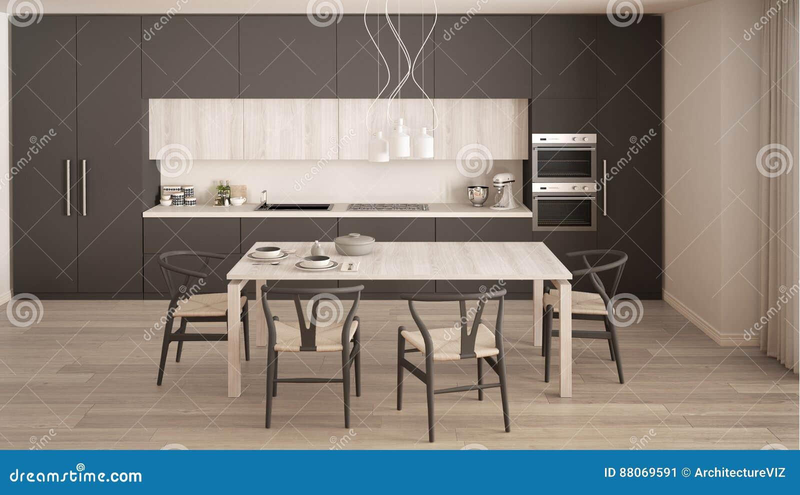 Moderne minimale grijze keuken met houten vloer klassiek binnenland stock foto afbeelding - Eetzaal grijze moderne ...