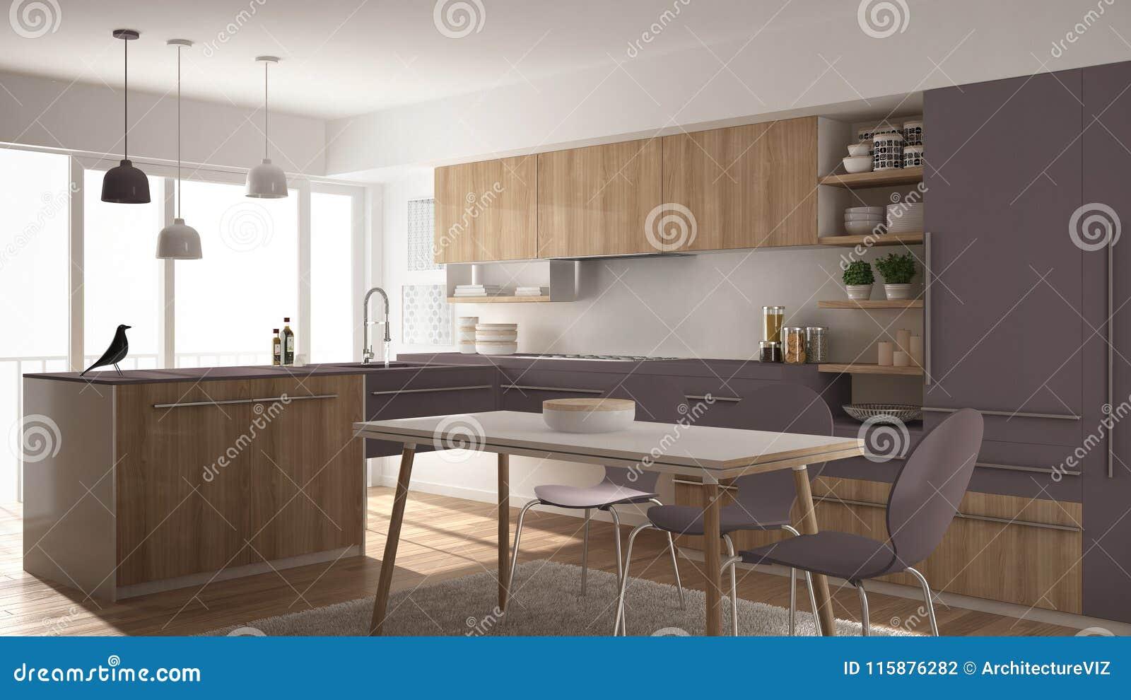 Moderne minimalistic houten keuken met eettafel, tapijt en panoramisch venster, witte en violette architectuur binnenlandse desig