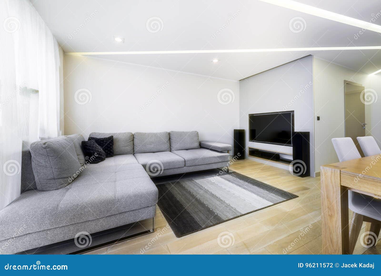 Moderne modieuze woonkamer in grijze kleur stock foto