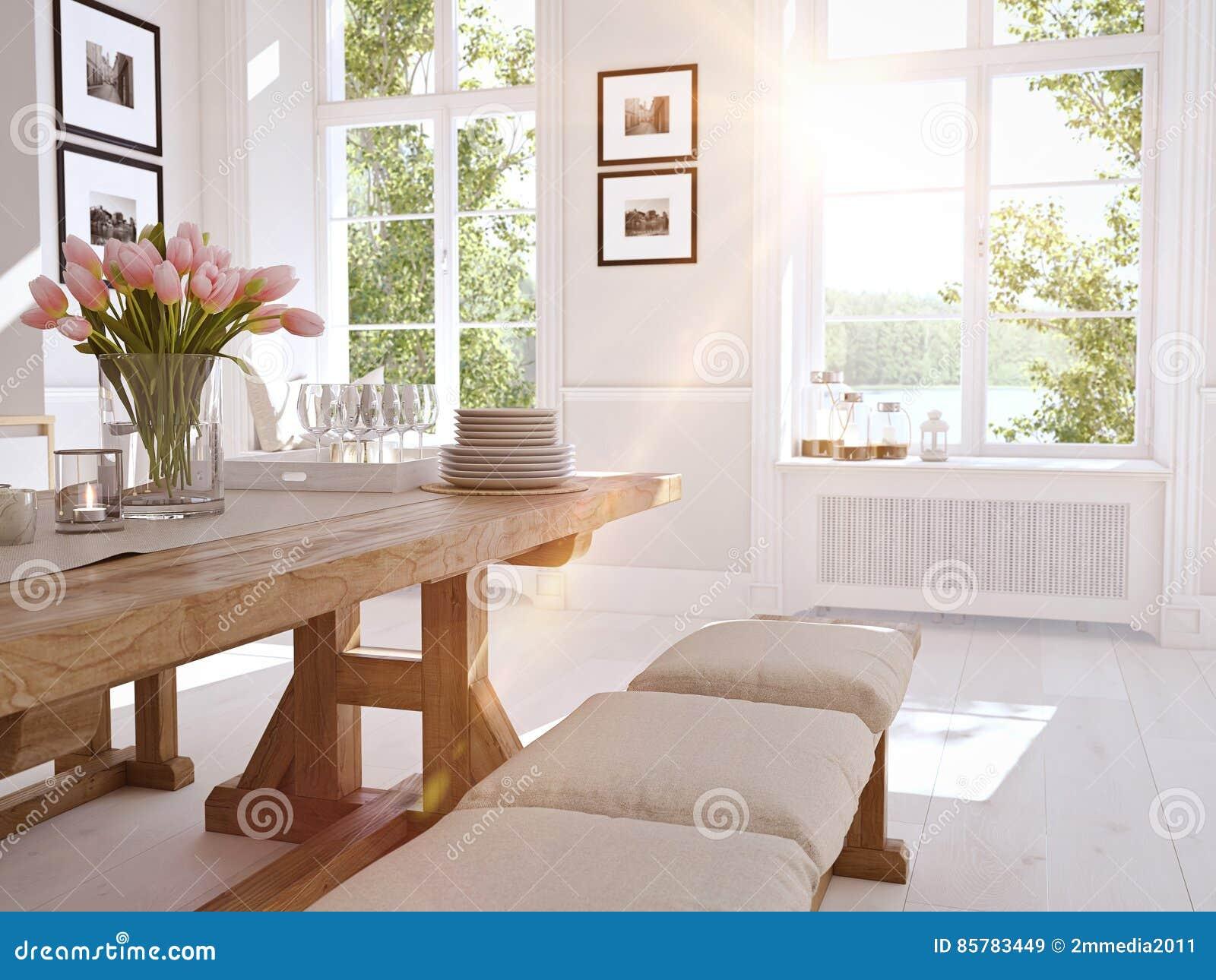 Moderne Nordische Küche In Der Dachbodenwohnung Wiedergabe 3d ...