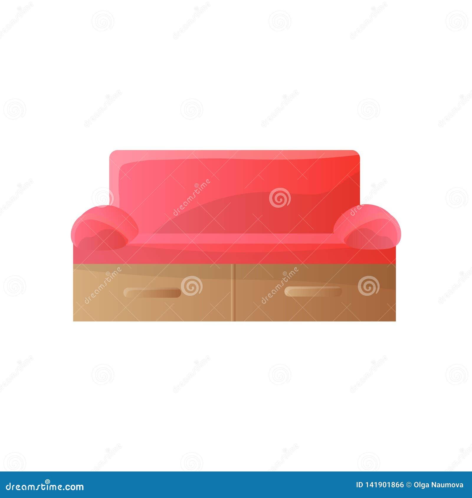 Moderne rode bank met strakke rond gemaakte wapens en rechthoekig vorm achtermalplaatje