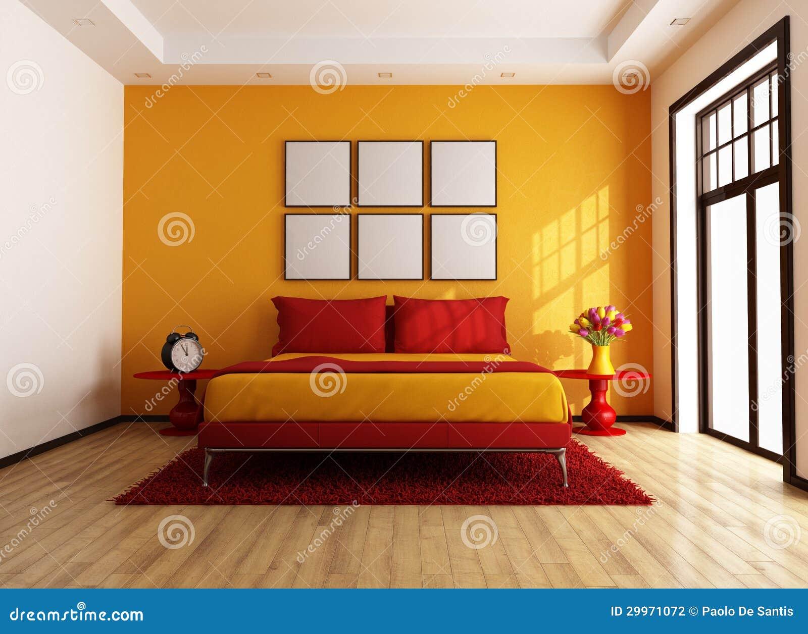 Rode en oranje eigentijdse slaapkamer stock fotografie ...