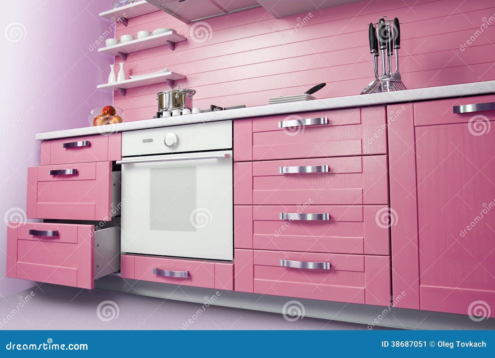 Moderne Rosa Kuche Stockbild Bild Von Raum Tabelle 38687051
