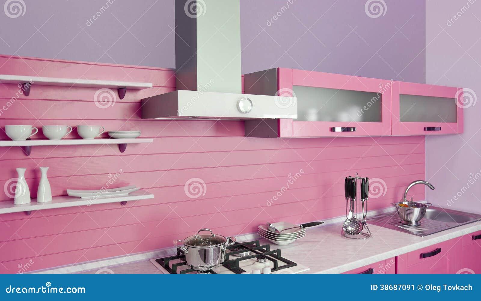 Moderne roze keuken vector illustratie   afbeelding: 42140818