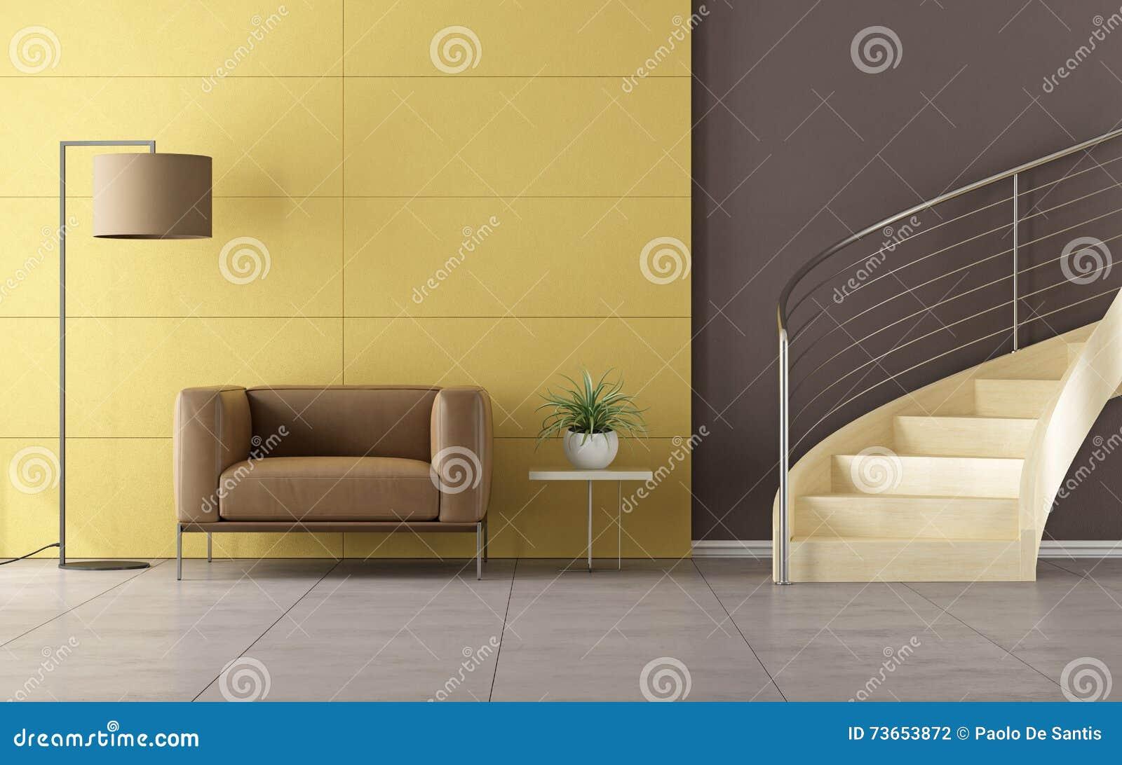 Moderne ruimte met houten trap stock illustratie illustratie