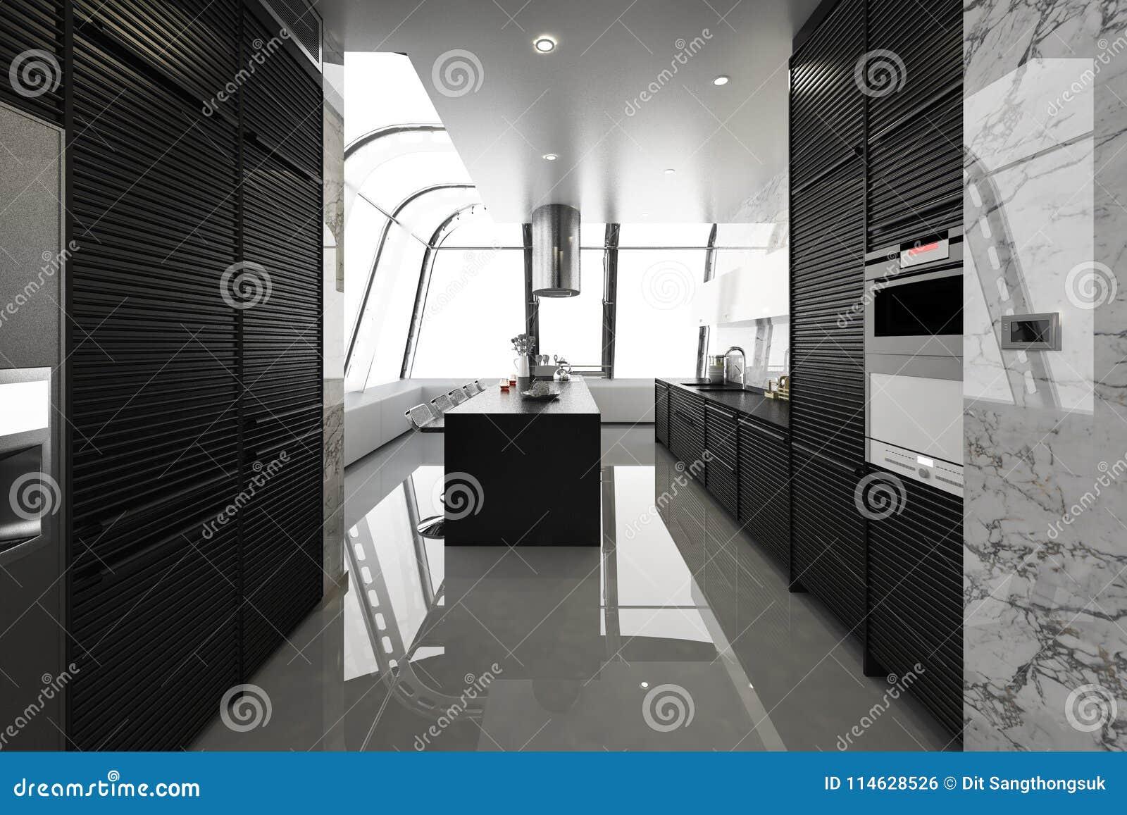 Moderne Schwarze Kuche Mit Dem Modernen Holz Eingebaut Stock