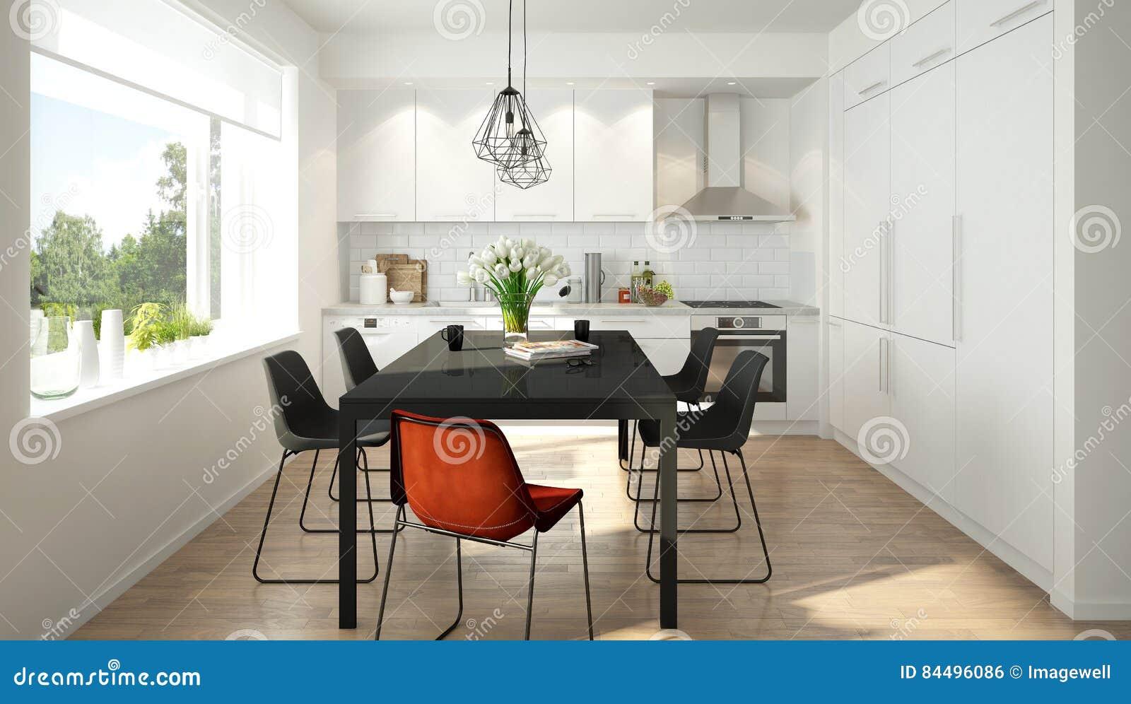 Moderne Skandinavische Küche Stock Abbildung Illustration Von