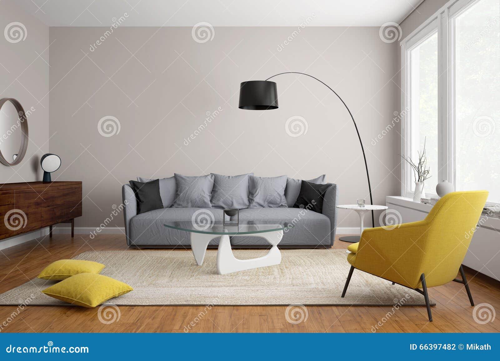 Moderne skandinavische woonkamer met grijze bank stock illustratie ...