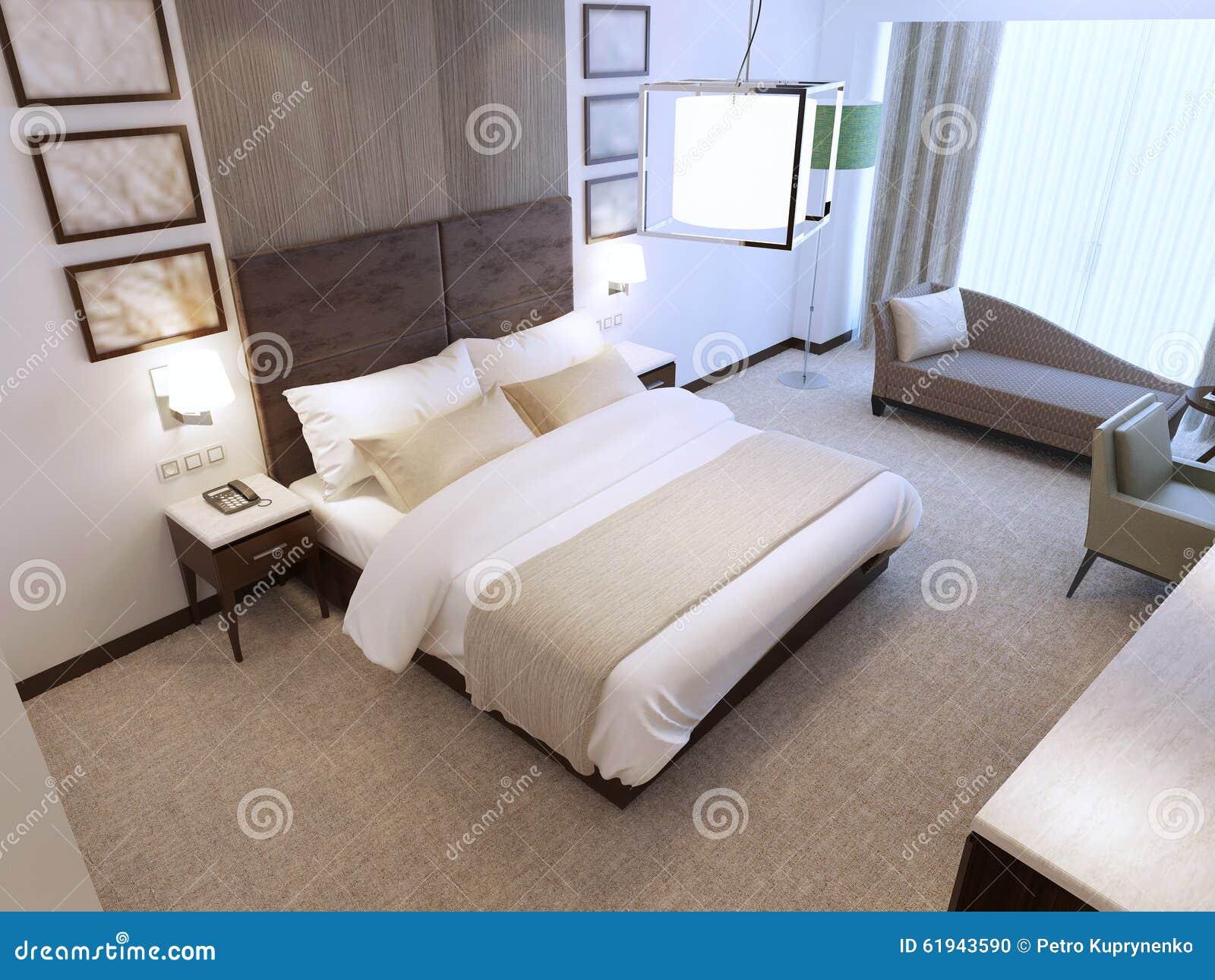 Houten Muurdecoratie Slaapkamer : Moderne slaapkamer in daglicht stock illustratie illustratie