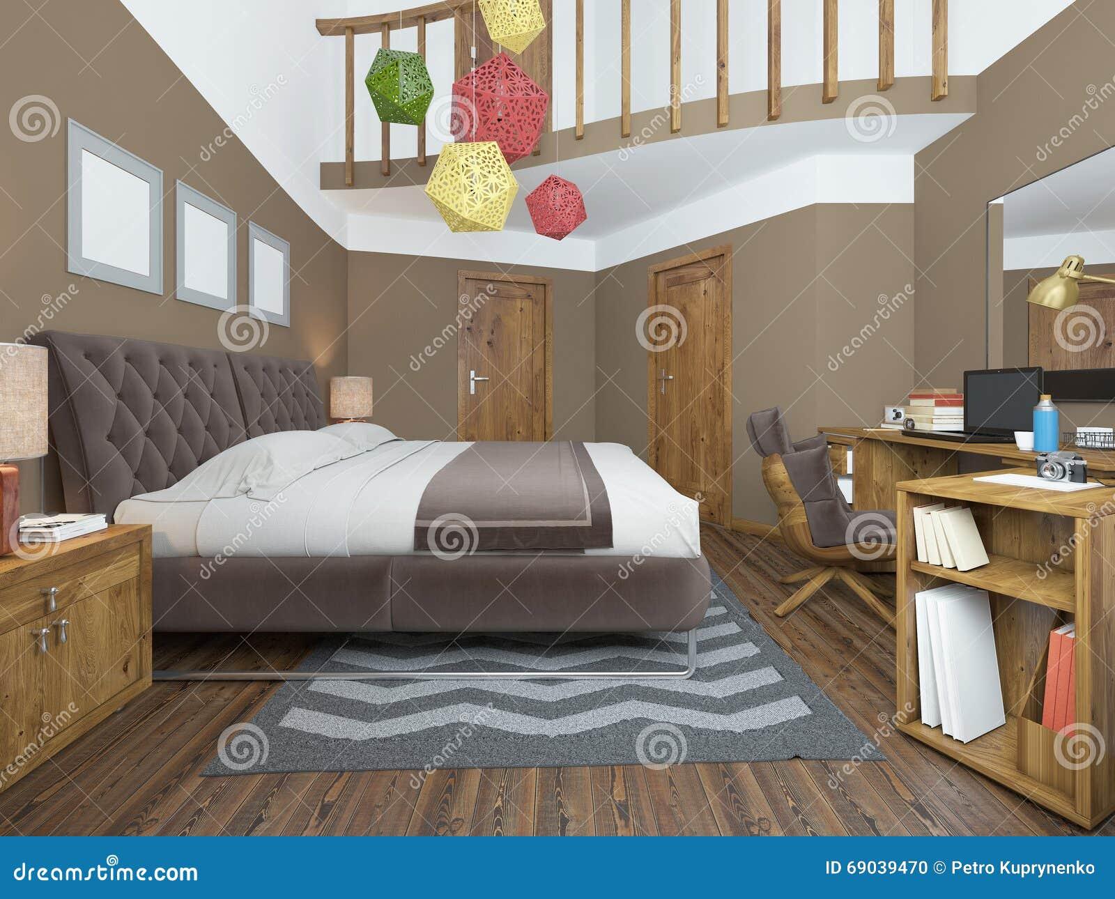 Moderne slaapkamer in de stijl van eigentijdse bedlijsten met stock
