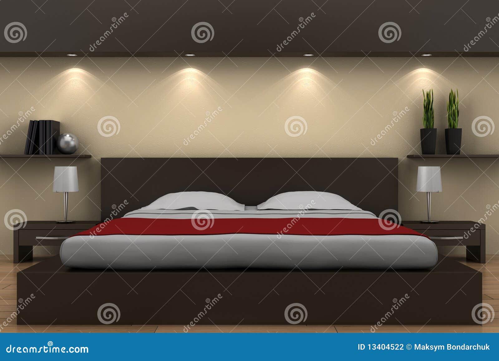 Moderne slaapkamer met bruin bed stock fotografie   afbeelding ...