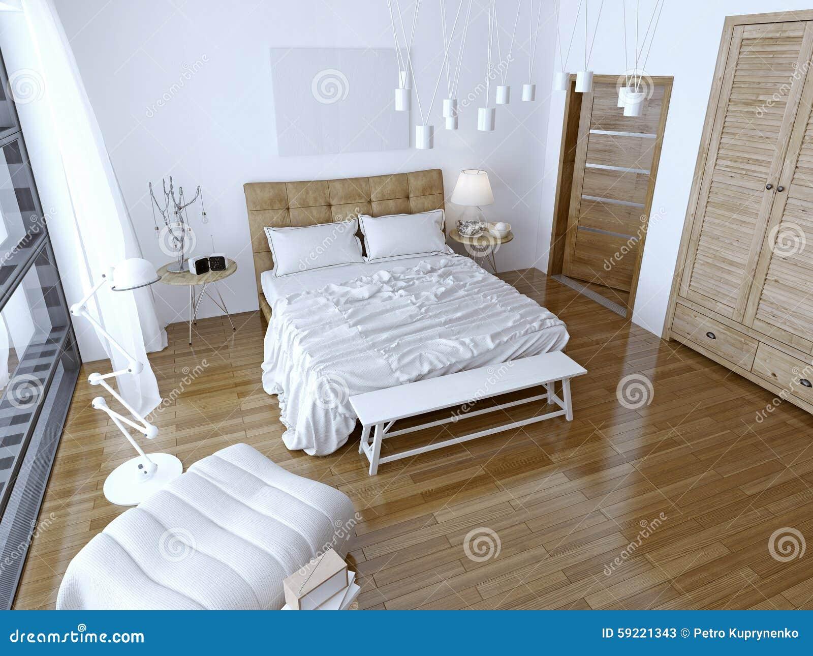 Moderne slaapkamer met bruin bed en witte muur stock foto afbeelding 59221343 - Romantische witte bed ...