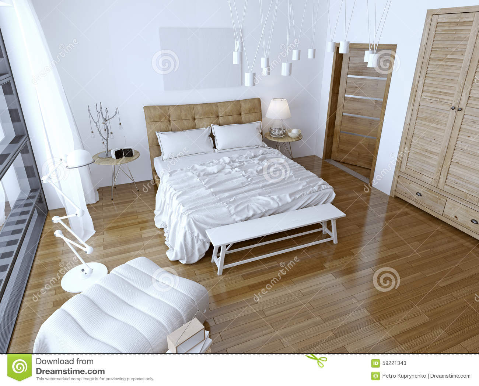 Bruine Slaapkamer Muur : Moderne slaapkamer met bruin bed en witte muur stock afbeelding
