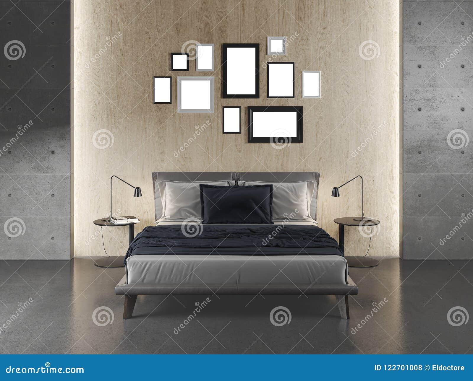 Moderne Slaapkamer Met Concrete Vloer En Muren Stock Illustratie ...