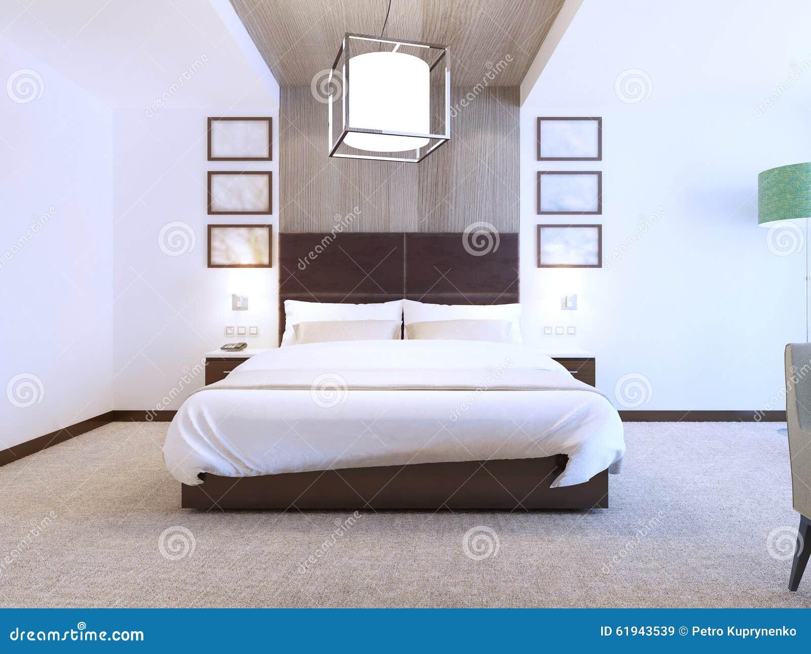 Moderne slaapkamer met houten decoratie stock illustratie