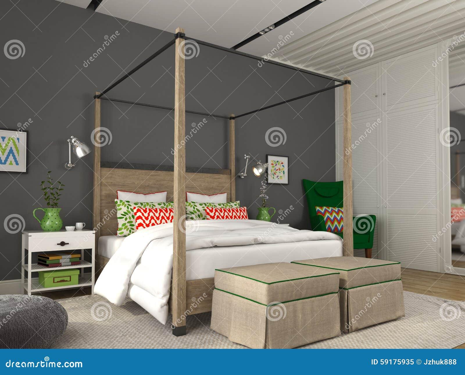 Moderne slaapkamer met kleurrijke decoratie stock afbeelding