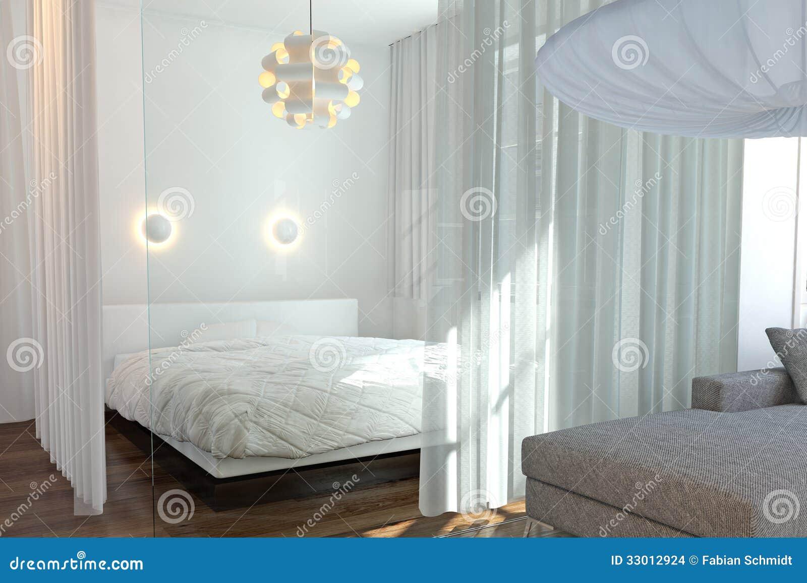 Moderne Slaapkamer Met Muur Van Glas Stock Afbeeldingen ...