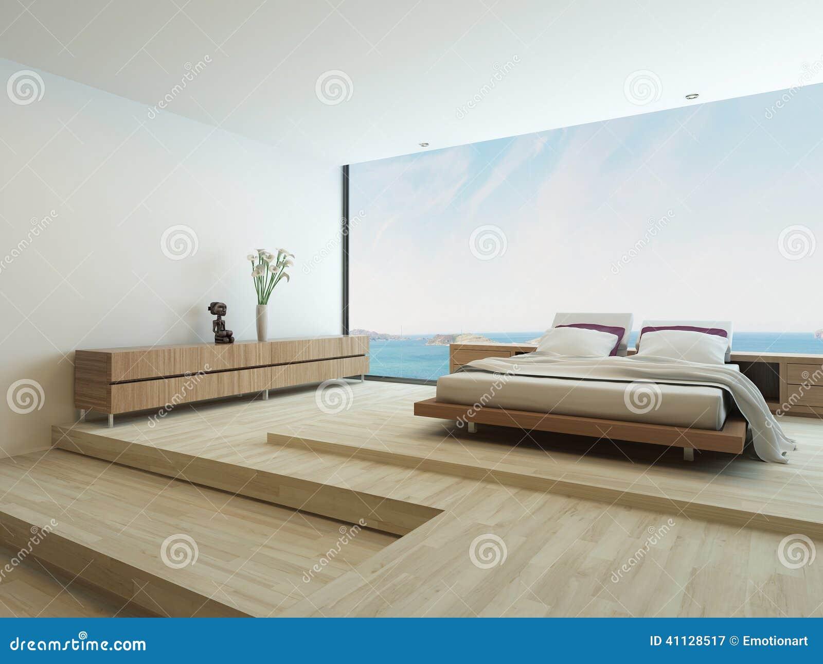 Moderne slaapkamer met vloer aan plafondvensters stock illustratie ...