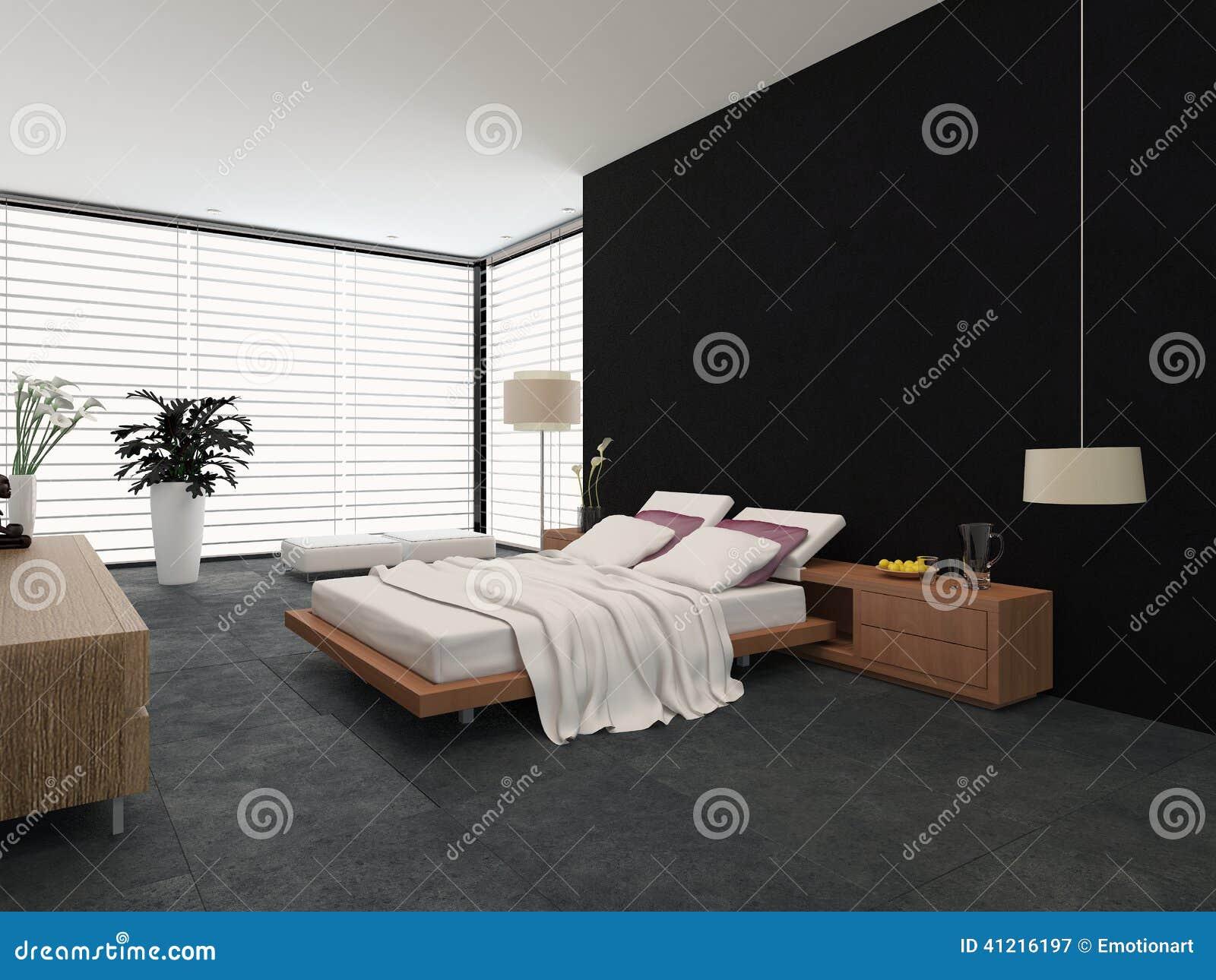 Moderne slaapkamer met zwart wit decor stock illustratie